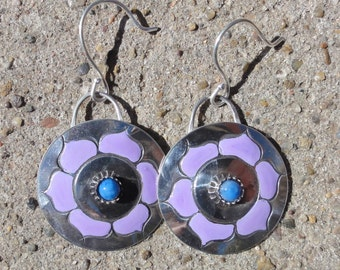 Earrings with Violet Flowers and Lapis