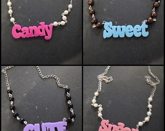 """Necklaces word """"Cute / sweet / Candy / Sugar"""""""