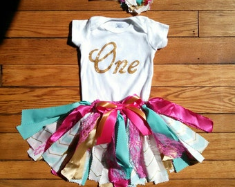 Baby girl first birthday fabric tutu set pink & teal One, gold