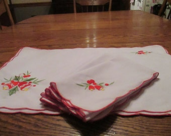 Vintage Christmas Place Mats and Napkins, Lap Tray linens,  set of 6, embroidered, Philippines, 1980's