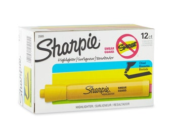 12 Sharpie Accent Tank Style Yellow Highlighters, Chisel Point