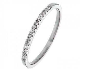Half Eternity Diamond Ring 0.15ct 18K White Gold 1.5mm