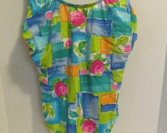 Vintage Women's Multi colored Floral Swim Suit / size 12 / Retro / 1980s / Swimwear