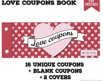 Love Coupon Book - 16 printable coupons for Boyfriend / Girlfriend, Anniversary. DIY Valentines Gift for Him - Gift for Her PDF