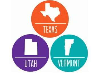 State Stickers / Badges  , Events , Parties , Texas , Kansas , Ohio , Tennessee , California , Utah , Oklahoma , Kentucky