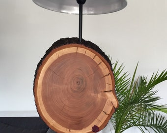 Floor lamp made of a wooden disc cherry