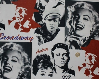 Pop Art Home Decor Fabric, Marilyn Monroe, Audrey, Broadway, Hollywood, Non-fade Washable Heavy Weight Upholstery Fabric, Kmsc-2489
