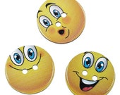 Beautiful large smiling face wooden buttons, round yellow funny buttons, cute buttons for arts and crafts, 50 pcs