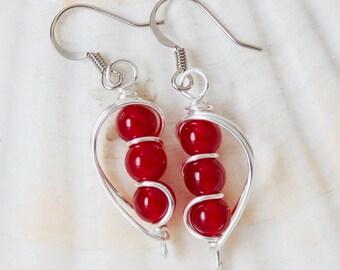 Red Jade Earrings, Red Bead Earrings, Semi Precious Jewelry, Wire Wrapped, Semi Precious, Christmas Jewelry