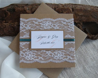 Rustic Wedding Invitation, Eco Wedding Invitation, Teal Wedding Invitation, Blush Wedding Invitations, Lace Wedding Invitations SAMPLE