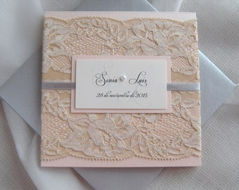 Rustic Wedding Invitation, Lace Wedding Invitation, Peach Rose Gold Wedding Invitation, Grey Wedding Invitation, Dusty Rose