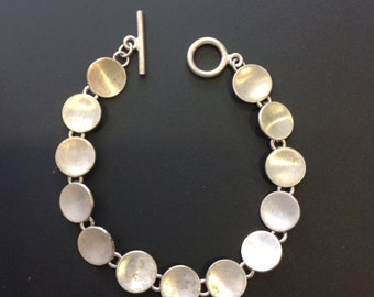 Vintage Sterling silver bracelet coins chain link marked made in Israel Minimalist boho