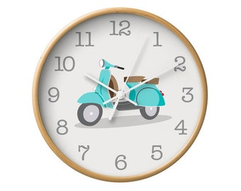 Vespa wall clock Bike clock Vespa bike wall clock Nursery wall clock Nursery clock Nursery decoration Bike wall clock Vespa wall decor