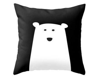 Polar bear cushion polar bear pillow polar bear nursery pillow polar bear nursery cushion monochrome pillow black and white nursery
