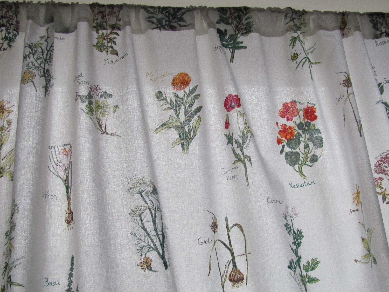 Vintage gordijn paneel met botanische print effen door olalavintage