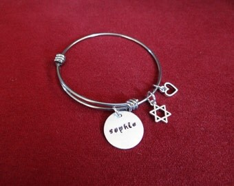 NAME charm, bangle bracelet, Star of David, Heart charm,  (Bat Mitzvah Gift)....child size available also, Hand stamped