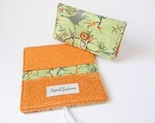 Checkbook Cover with Duplicate Carbon Copy Flap - Pistachio Green with Orange and Geese