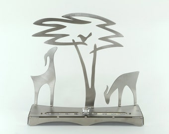 gazelle and Acacia Tree Menorah, Judaica, Shraga Landesman, Hanukkah, Aluminium, stainless steel