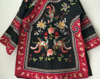1960s vintage Chinese silk embroidered phoenix robe Asian embroidery jacket