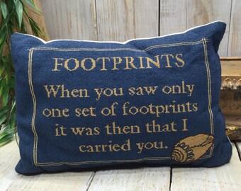 Footprints pillow - Decorative Throw Pillows, Beach Pillow, Beach Throw Pillow, Nautical pillow, Coastal Decor, Decorative Pillow