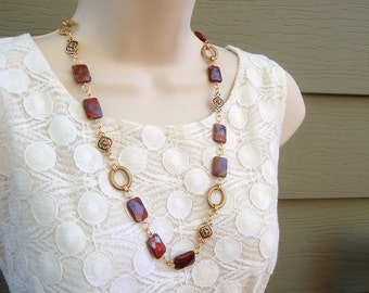 Long Red Jasper Stone Necklace / Dangle Earring Set.Metal plated in 24K Gold.Statement Necklace.Beaded Necklace.Bridal.Holiday.Handmade.