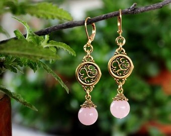 Pink Rose Quartz Dangle Earrings.Drop.Metal plated in 24K Gold.Bridal.Valentine.Mother's.Holiday.Birthday.Bridesmaid.Gift.Formal.Handmade.