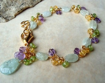 Aquamarine Cluster Bracelet.Multi Gemstone.Statement.Citrine.Bridal.Amethyst.Peridot.Mother's.Blue.Birthday.Pastel.Wedding.Gold.Handmade.