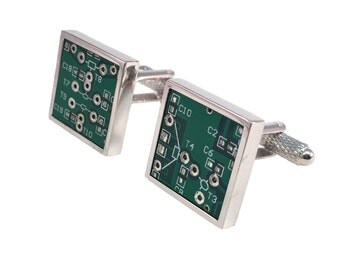 Real Computer Circuit Board Chip Square with Silver Border Cuff Links