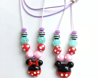 New Mickey/Minnie red and pink necklace
