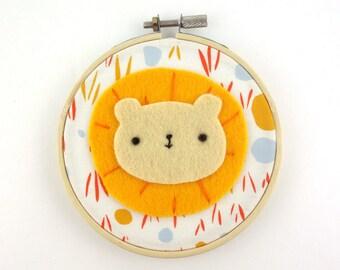 Cute Lion Hoop Art - Kids Room Decor - Animal Decoration