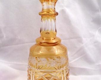 Amber Cut to Clear Glass Cruet, Bottle with Stopper, Intaglio, Cross-Hatch