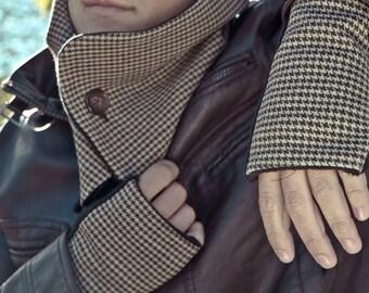 Conjunto de mitones y cuello con dos botones para hombre con forro polar, estampado marron pata de gallo, regalo para hombre, moda hombre
