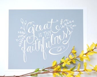 Great is Thy Faithfulness .. Print of Hand-drawn Art .. Home Decor
