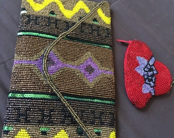 Fine Beaded Purse Bag with Smalled Beaded Coin Purse