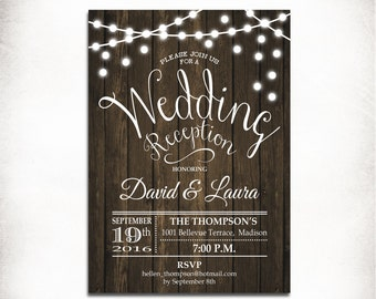 wedding reception invitation rustic printable wood invitation fairy string lights digital printable invitation - Wedding Reception Invites