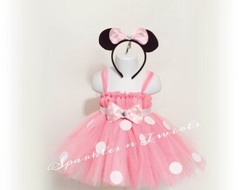 Light pink Minnie Mouse inspired Tutu dress w/ free Minnie mouse ears