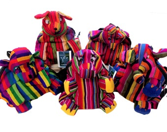 Vivid, Bright, Guatemala Traditional Tribal Textile Animal  Festival Travel Bag Mini Backpack