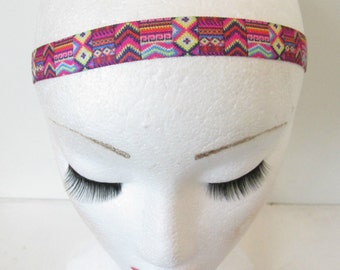 Aztec Vintage Print Headband Festival Boho Stretch Elasticated Pink Gypsy O35