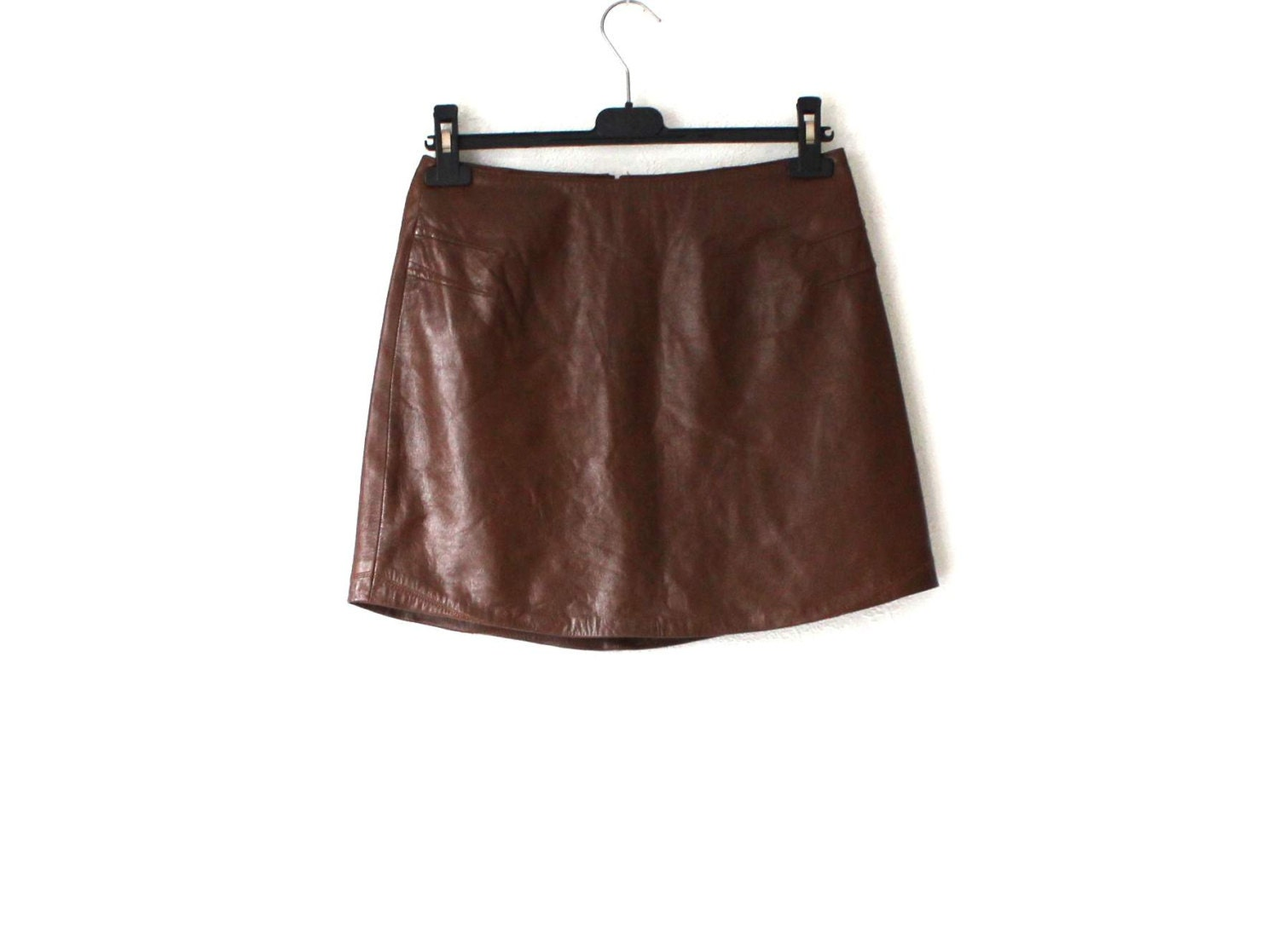 vintage brown genuine leather mini skirt small by