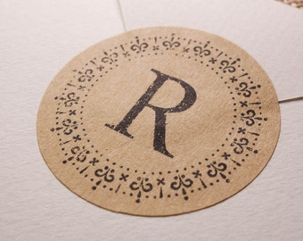"100 pcs kraft paper ""Initial Letter"" / Alphabet sticker / Shipping Labels Stickers Seals"