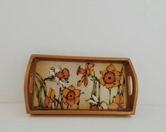 Vintage yellow daffodils tray - small, gold, white,  decor