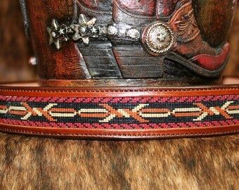 Leather Belt Beaded Barbwire Design