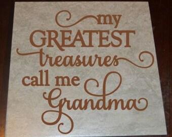 Personalized Tile- Family Tile- Gift for Grandma- Decorative Tile- Love- Grandma- Grandma's Treasures