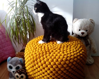 Crochet mustard/yellow round stuffed pouf - ottoman / Knit wool footstool / Crochet pouf / Knit ottoman / Nursery furniture