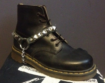 One row leather punk bootbraces