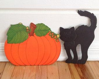 Black Cat and Pumpkin Vintage Halloween Decorations