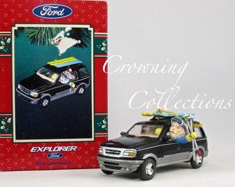 Enesco Ford Explorer Car Treasury of Christmas Ornament Santa Skiing Ski Rack Ski Poles Driving Jeep Vintage HTF