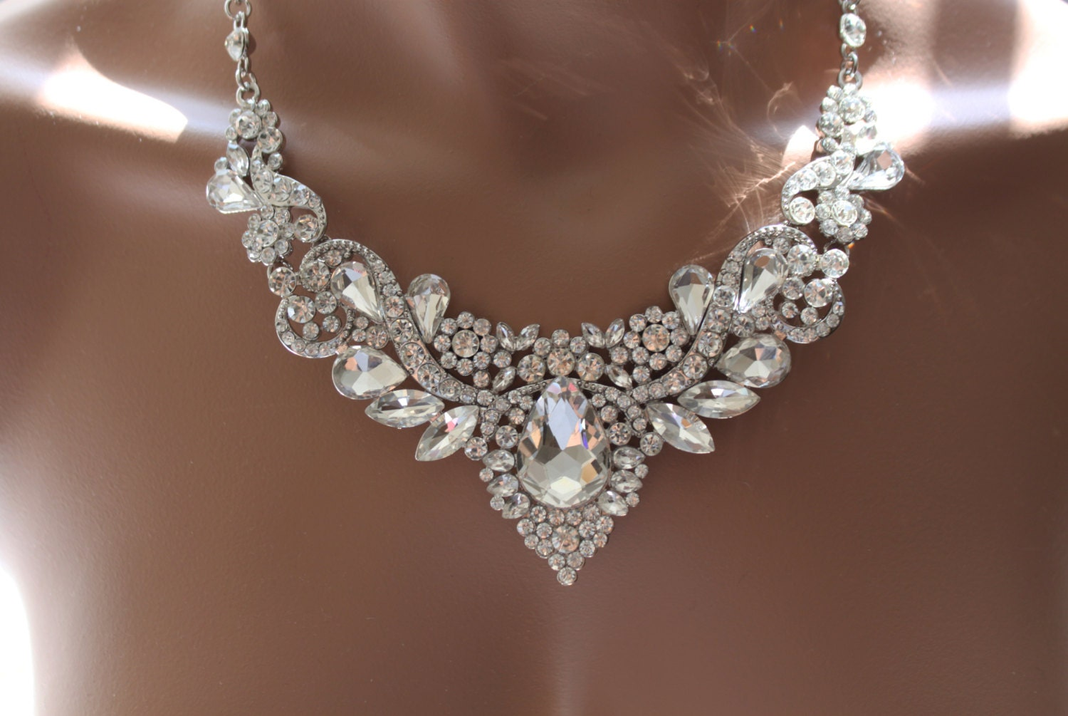 Bridal Jewelry Set Crystal Deco Nouveau Style Necklace With