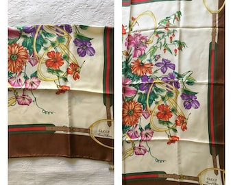 70s Gucci Scarf - Vintage Gucci Silk Scarf - Gucci Scarf with Flowers and Horse bits