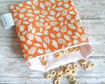fall leaves reusable snack bag - fall lunch bag - fall bag for women - autumn leaves - reusable snack bag - kids lunch bag-fall food storage